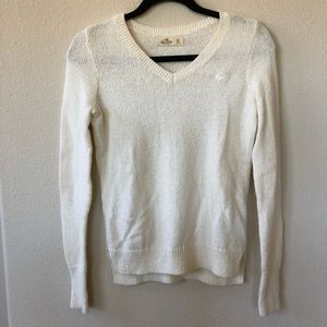 White Hollister V-Neck Sweater